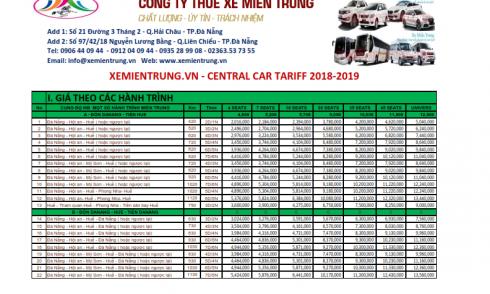 Bảng giá cho thuê  xe du lịch, xe đón tiễn tại Đà Nẵng và Miền Trung(Tours du lịch trọn gói)